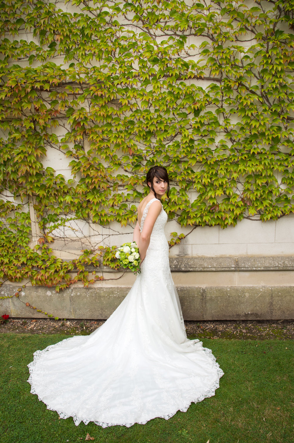 Bride with wedding dress Coombe Abbey Hotel Coventry