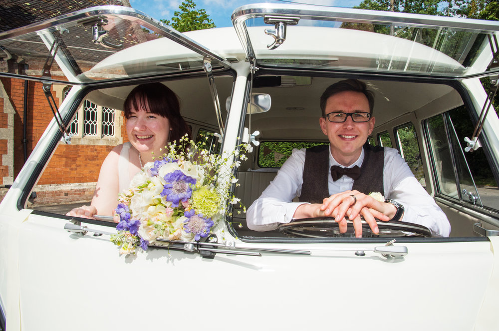 Bride and Groom in vw camper Hatton Village Hall Stratford Upon Avon Warwickshire