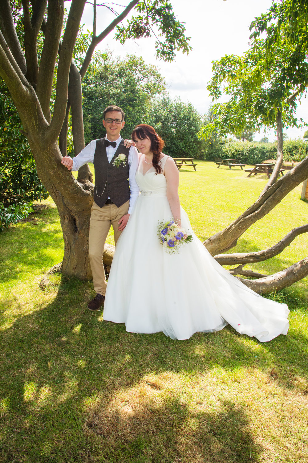 Bride and Groom in the garden Falcon Inn Hatton village Warwick