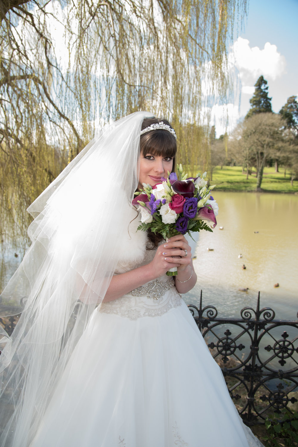Bride on bridge Walton Hall Hotel