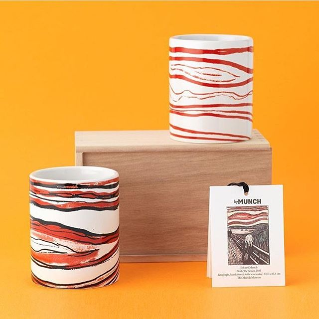 Repost from @nasjonalmuseetshop in Oslo, where you will find our mugs, as well as our scarves😊 Photo: Nasjonalmuseet/Frode Larsen #nasjonalmuseet #nasjonalmuseetshop #bymunch #norwegiandesign #norskdesign #kopper #mugs #edvardmunch #thescream