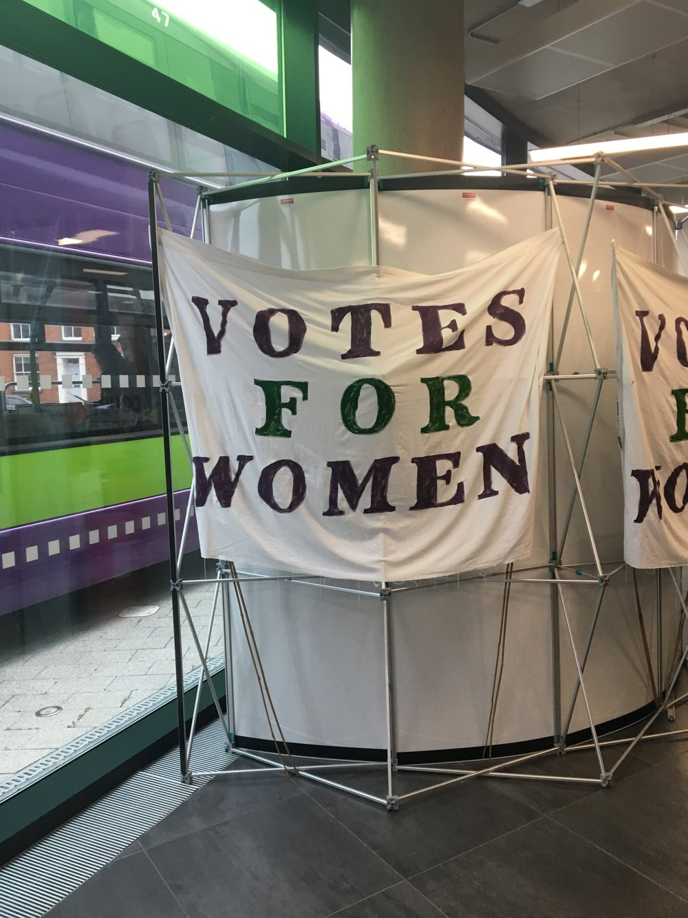 Votes for Women banner at the Women's Festival, Ipswich, UK 6th October 2018