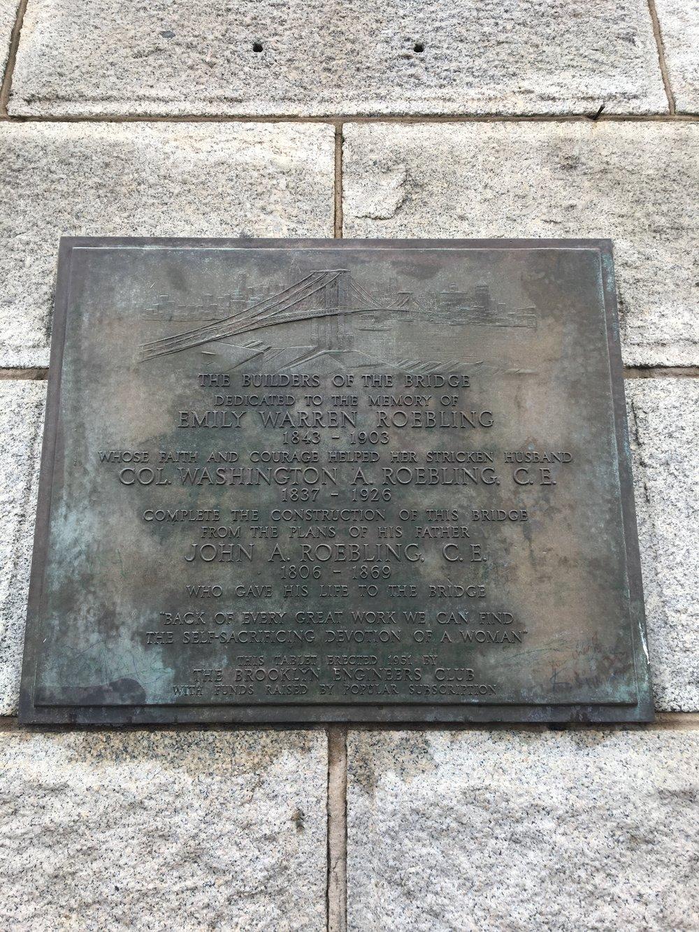 Emily Warren Roebling plaque on Brooklyn Bridge, NY