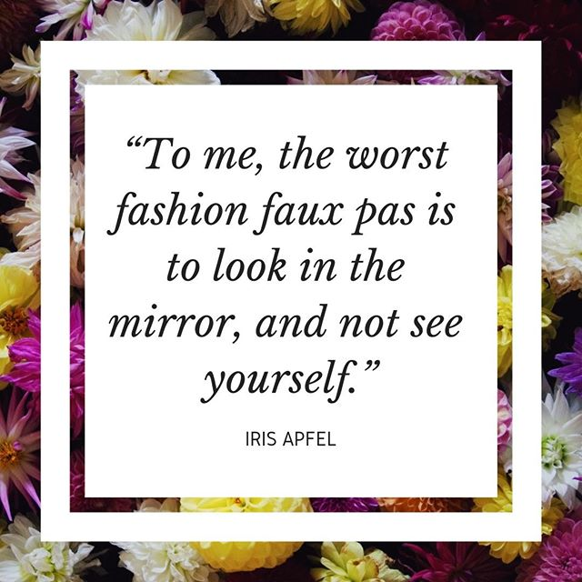 """""""To me, the worst fashion faux pas is to look in the mirror, and not see yourself."""" - Iris Apfel⠀⠀⠀⠀⠀⠀⠀⠀⠀ ⠀⠀⠀⠀⠀⠀⠀⠀⠀ I've decided to stay in world of style and clothing for this week's Unconventional Mentor and feature an unlikely star of fashion. At 97, @Iris.Apfel is an inspiring woman. Not only does she have an incredible personal style, with her trademark round glasses and copious amounts of bangles and necklaces, but she has an amazing attitude to life too. In this weeks piece I explore her life, look at how we revere youth when it comes to success and why I think having a 97 year old role model is the way to go. To find out more about Iris Apfel and the advice I take from her, head on over to my blog (link in my bio)  #irisapfel #fashionicon #rarebirdoffashion #womeninfashion #inspiringwomen #careeradvice #lifeadvice #inspiringquotes #advancedstyle #personalstyle #outfitinspo #unconventionalmentors"""