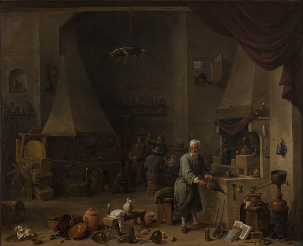 """Alchemist in his Workplace"", by David Teniers the Younger, ca. 1650. Currently being held at the Chemical Heritage Foundation in Philadelphia, Pennsylvania."