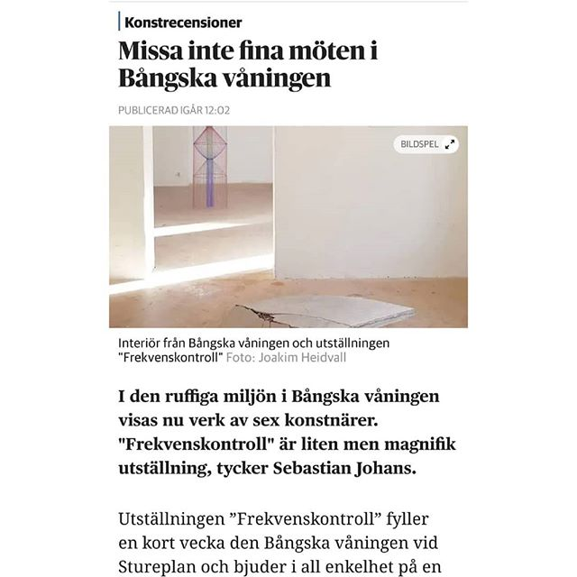 Review in #DN by #sebastianjohans! 💕 Last chance to catch #frekvenskontroll At Bångska Våningen, Stureplan 6, 13:00-18:00 #linabjerneld #niklaskarlsson #annaengver #christiansimonsson #bellarune #dickhedlund #joakimheidvall #jennydanielsson #theartwordpodcast