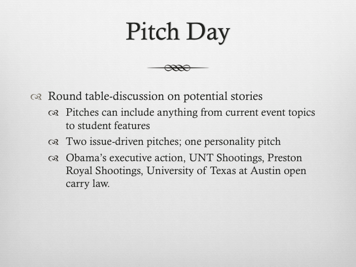 The beginning of every cycle starts with a pitch day. In this slide, I talked about pitch day and what topics were brought up to make us decide to use gun violence as our cover story.