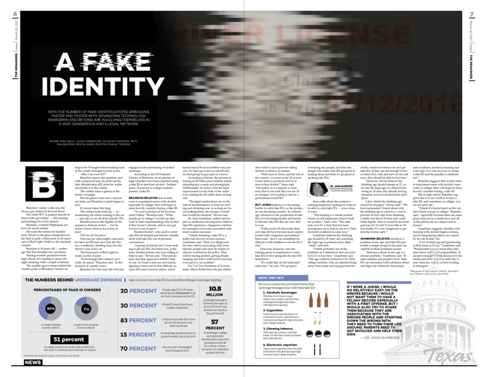 For this layout, I used a dominant visual that people associate with fake identities: a blurred face. Also, near the bottom of the centerspread, I included relevant infographic material along with watermarks that people associate with fake IDs.