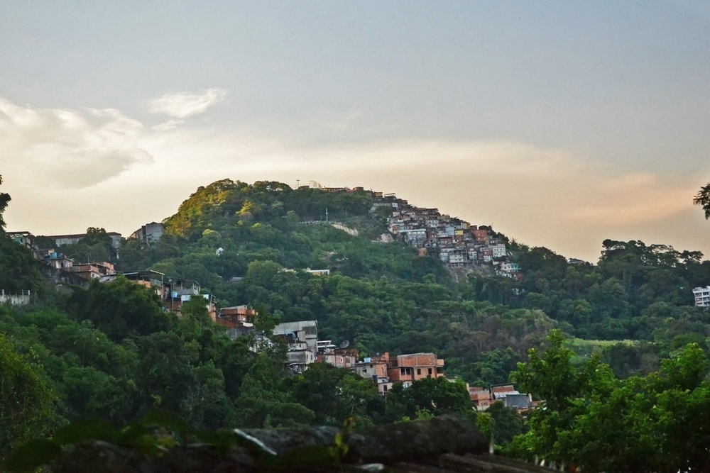 Favela on a hill in Tijuca forest