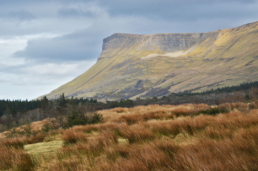 A side view of Ben Bulben