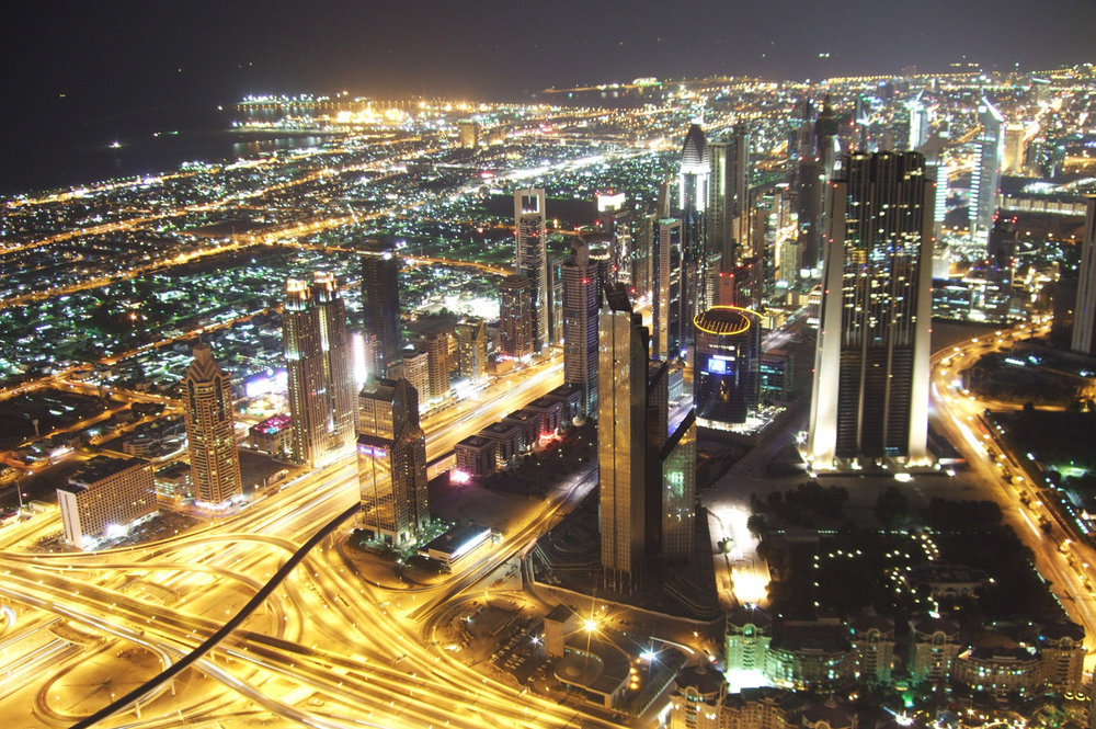 Dubai at night, view from Burj Khalifa