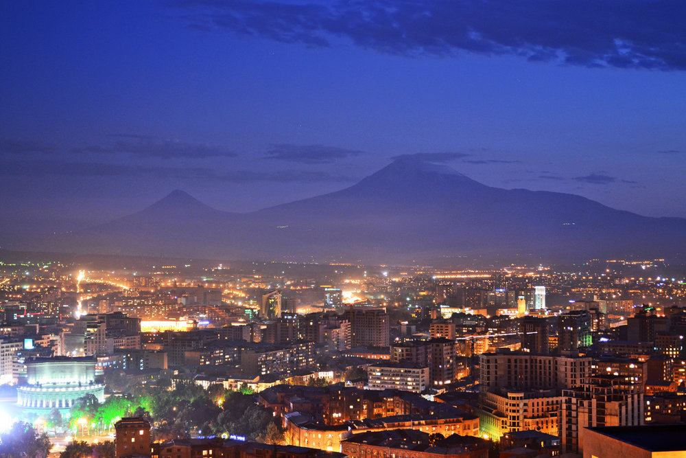 Amazing view of Yerevan and Mount Ararat from the cascades