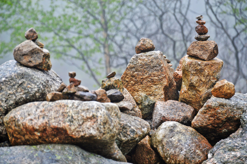 Cairns, stacks of stones along the trail