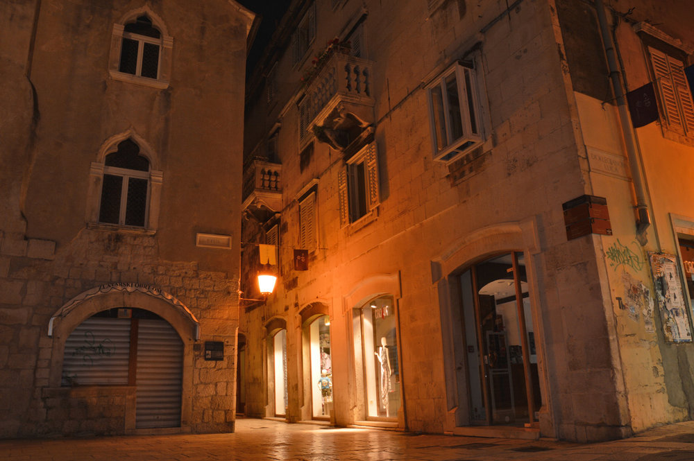 Split, Croatia, Old Town at night