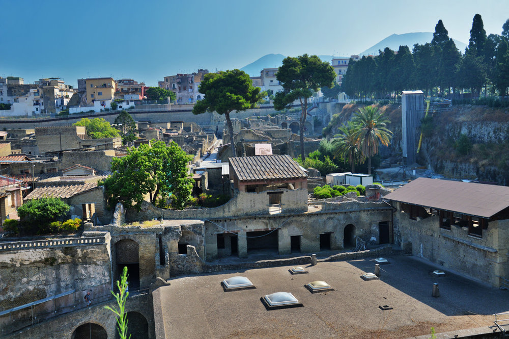 Herculaneum, Mount Vesuvius in the background