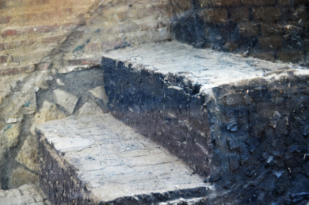 Original wooden stairs in Herculaneum