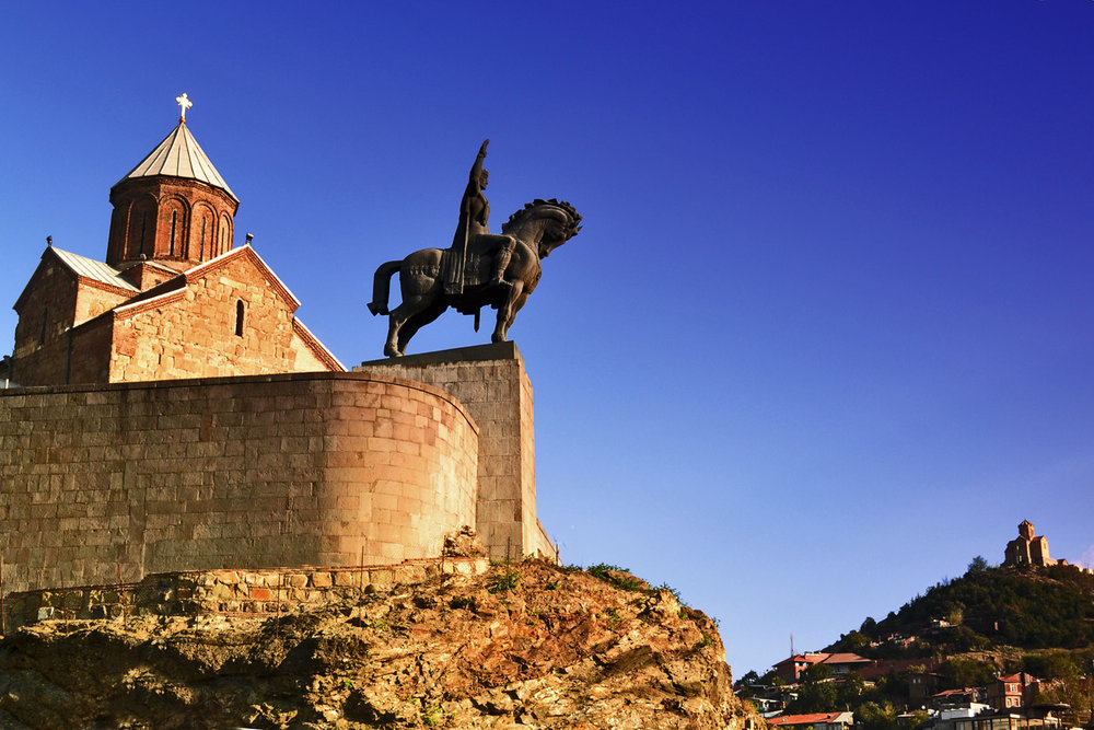 Metekhi Cathedral and the monument of Georgian King Vakhtang Gorgosali