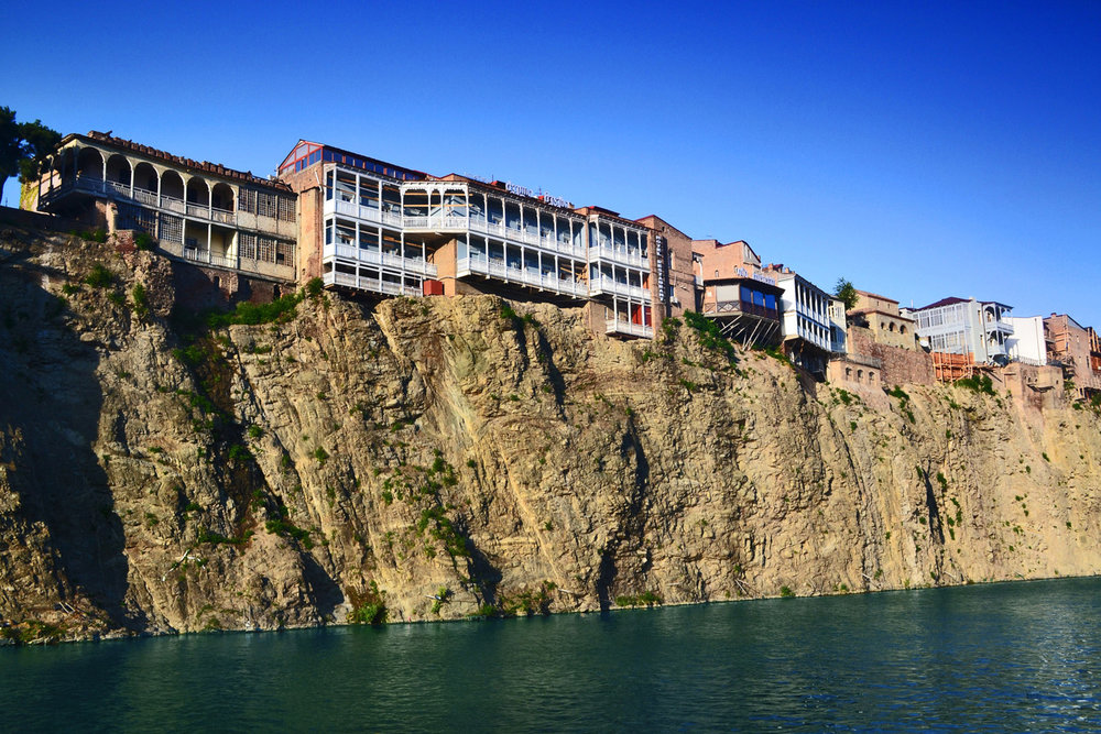 Balconies on the cliffs over Kura river