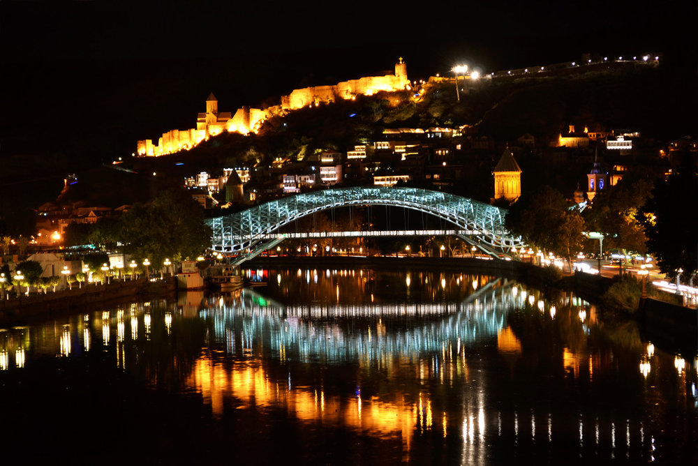 Beautiful view of Tbilisi at night