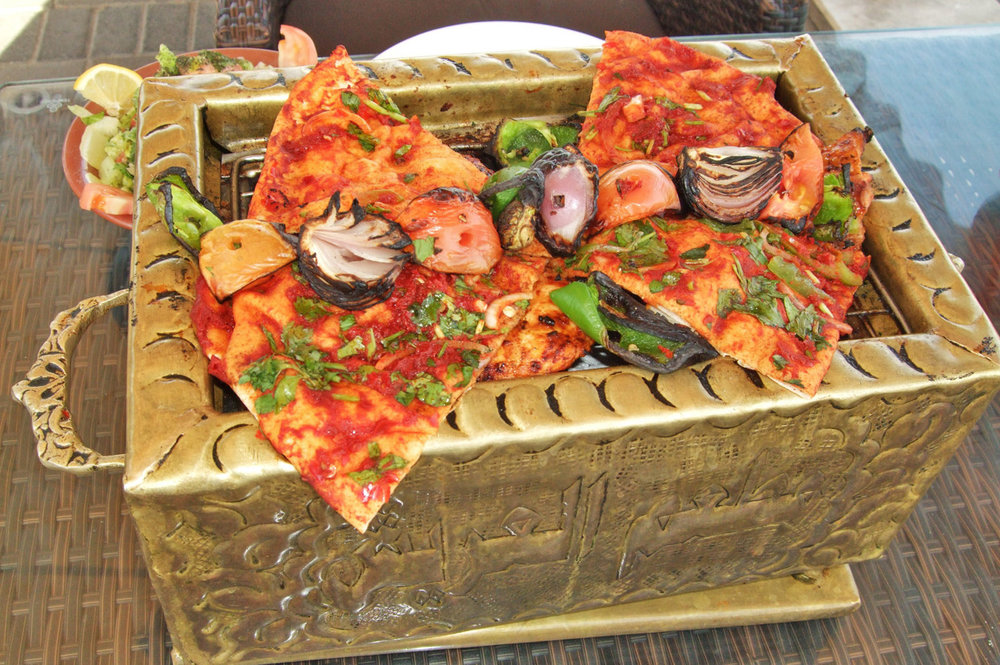 A meal served on a golden grill