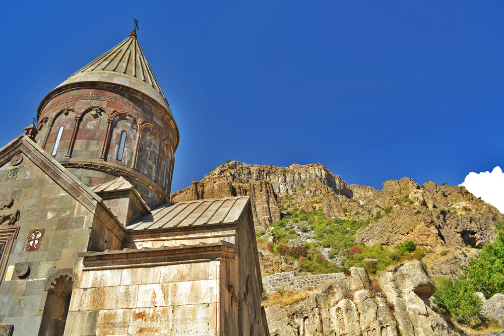 Geghard Monastery, carved into the wall of a cliff, more inf  here