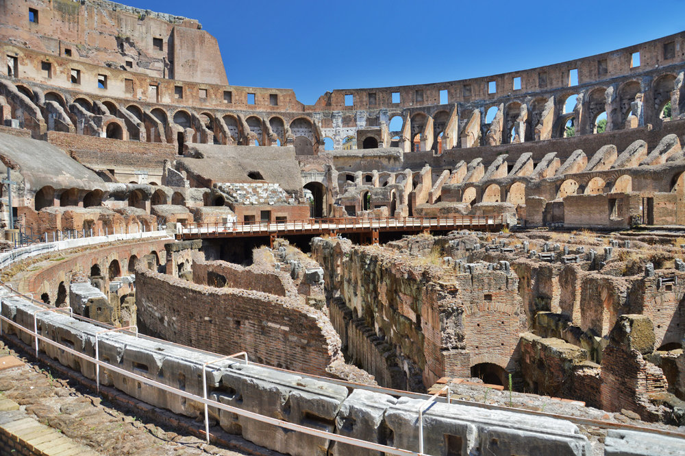 Inside the Colosseum - ruins of the arena