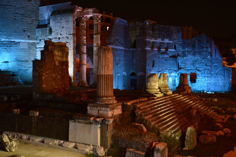 Trajan's market at night