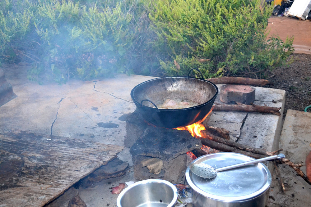 Traditional way of cooking on fire