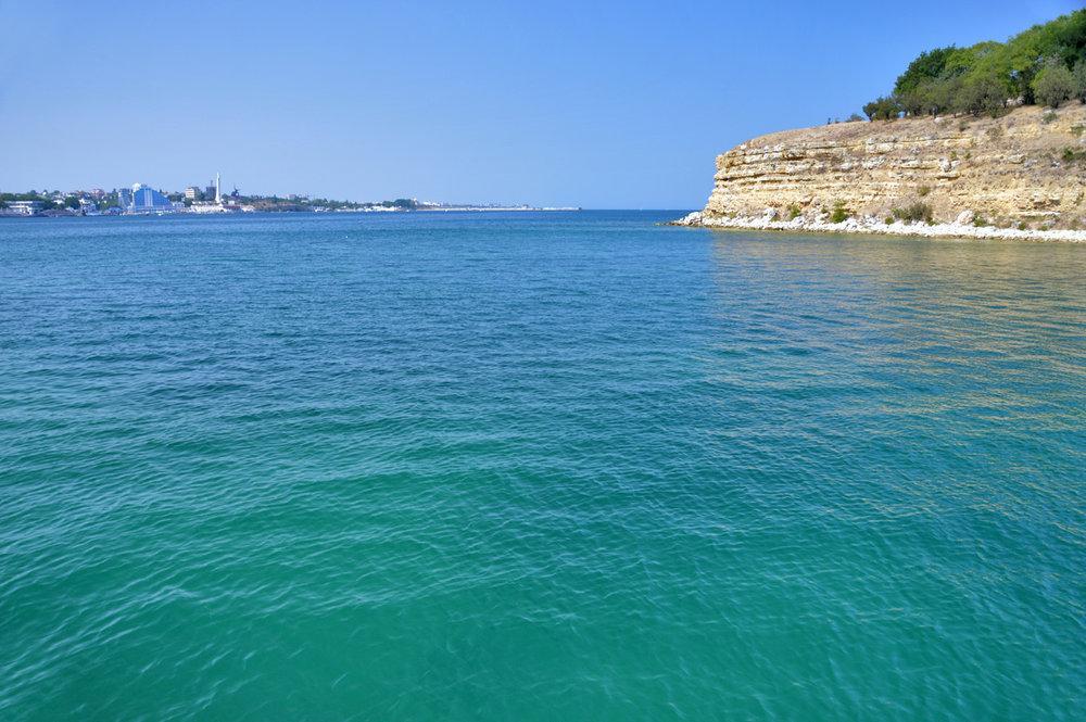 Blue waters of the Black Sea in Sevastopol