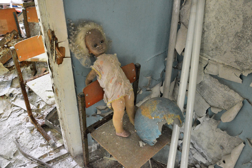 A doll in one of the classrooms in a school in Pripyat