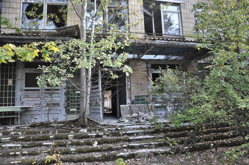 Crumbling buildings in Pripyat