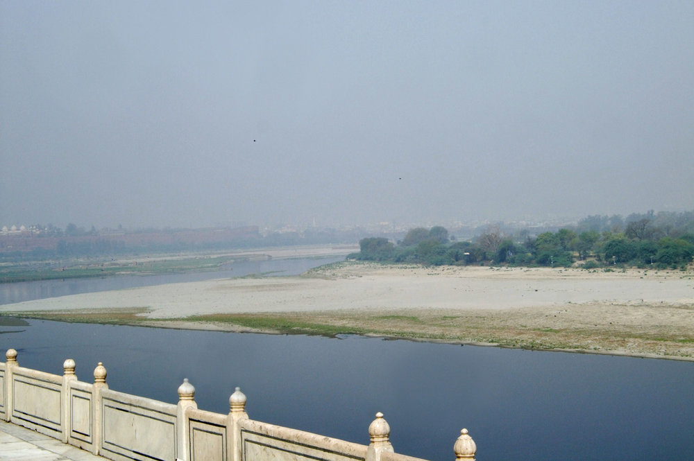 Taj Mahal - view of Agra - pollution