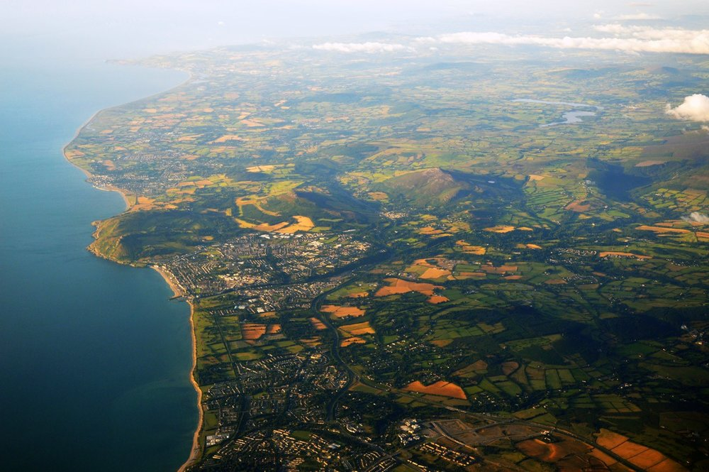 Aerial view of Bray - taken while landing in Dublin