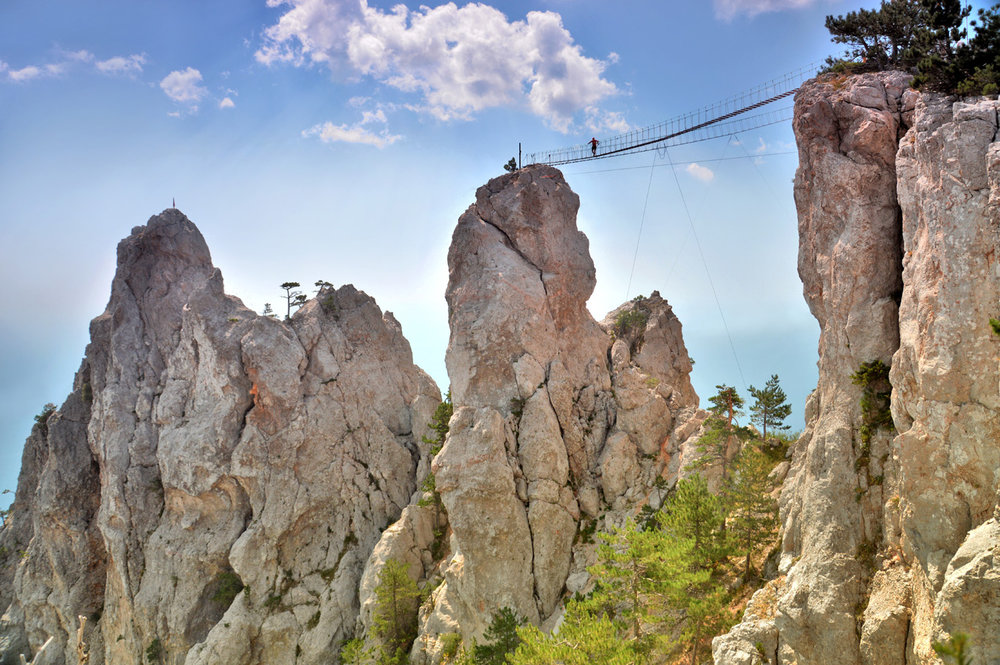 Rope bridge on top of Ai-Petri