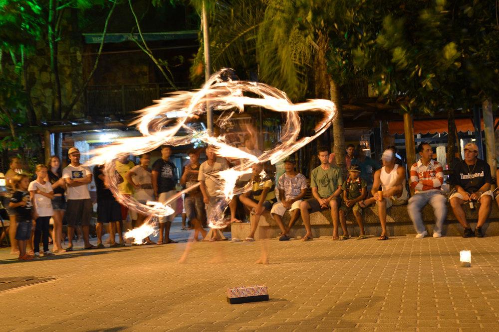 Fire performers in Porto de Galinhas, Brazil