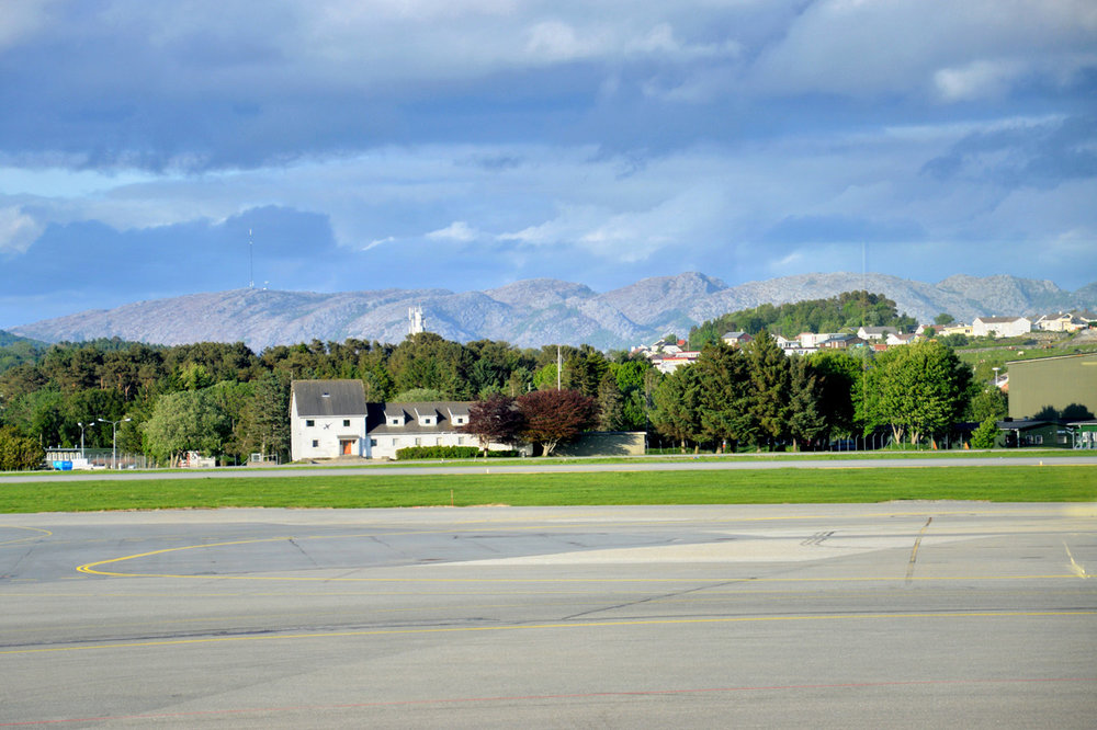 Mountainous scenery at Stavanger Airport