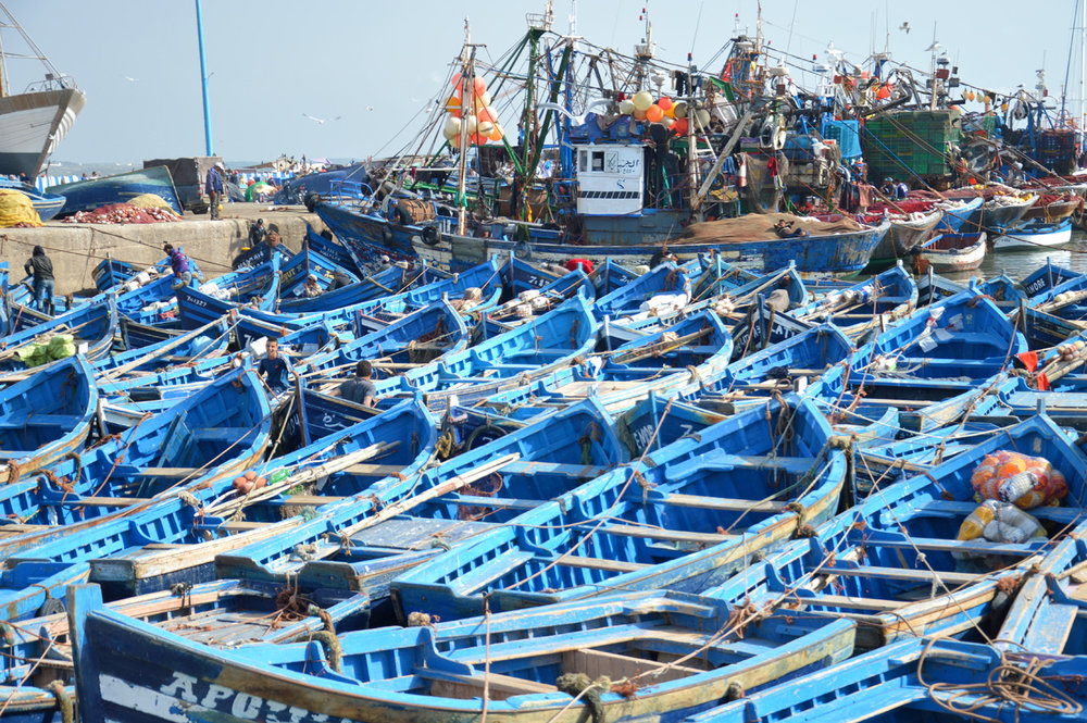 Blue boats in Essaouira