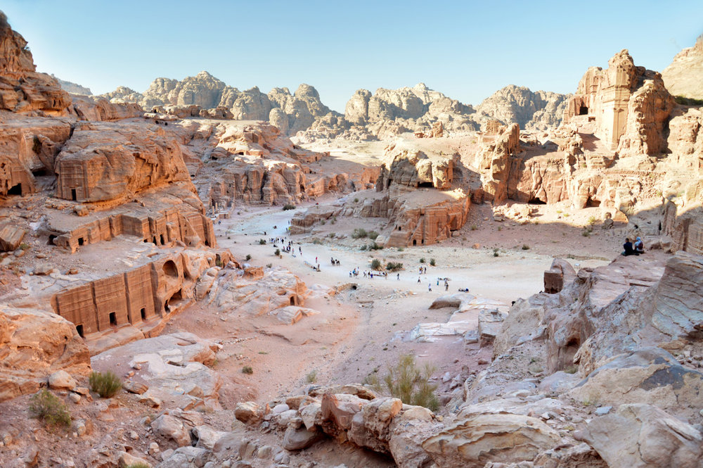 The ancient Nabataean center of Petra seen from the High Place of Sacrafice