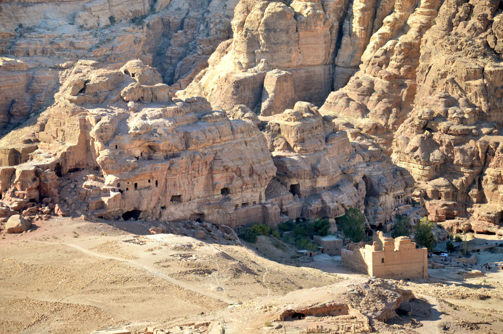 The rocks and the Qasr al-Bint Temple - view from the High Place of Sacrifice
