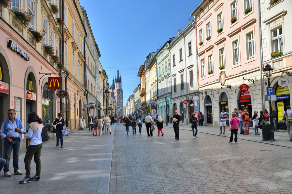 One of the city streets (Floriańska) leading to the market square, St. Mary's Church in the background