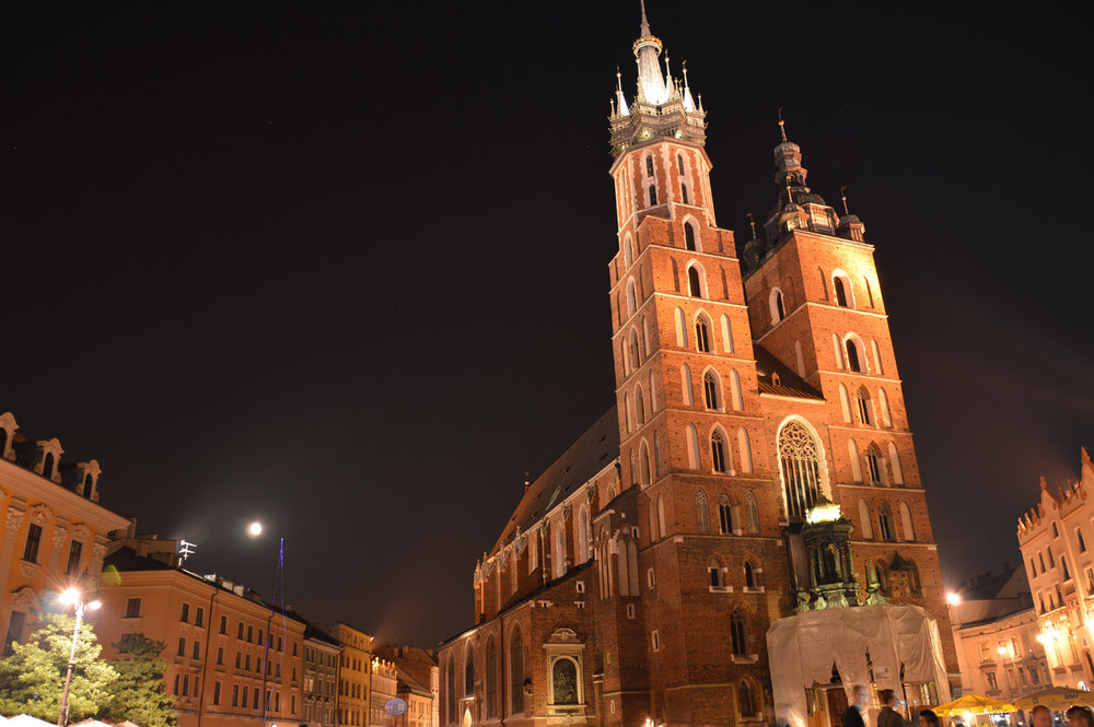 St. Mary's Basilica at night
