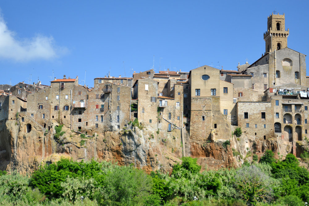 Houses on the cliff - view from the road