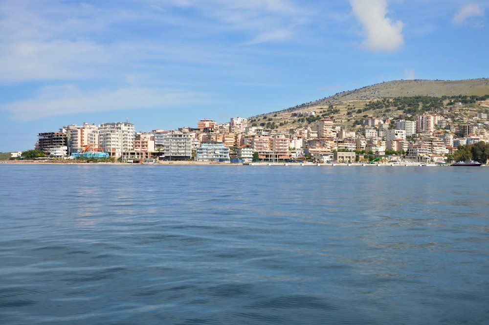 Sarande in Albania - view from the ferry coming from Corfu
