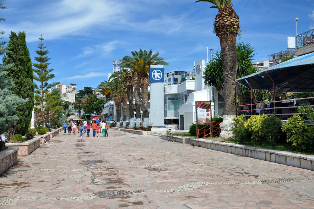 The promenade in Sarande