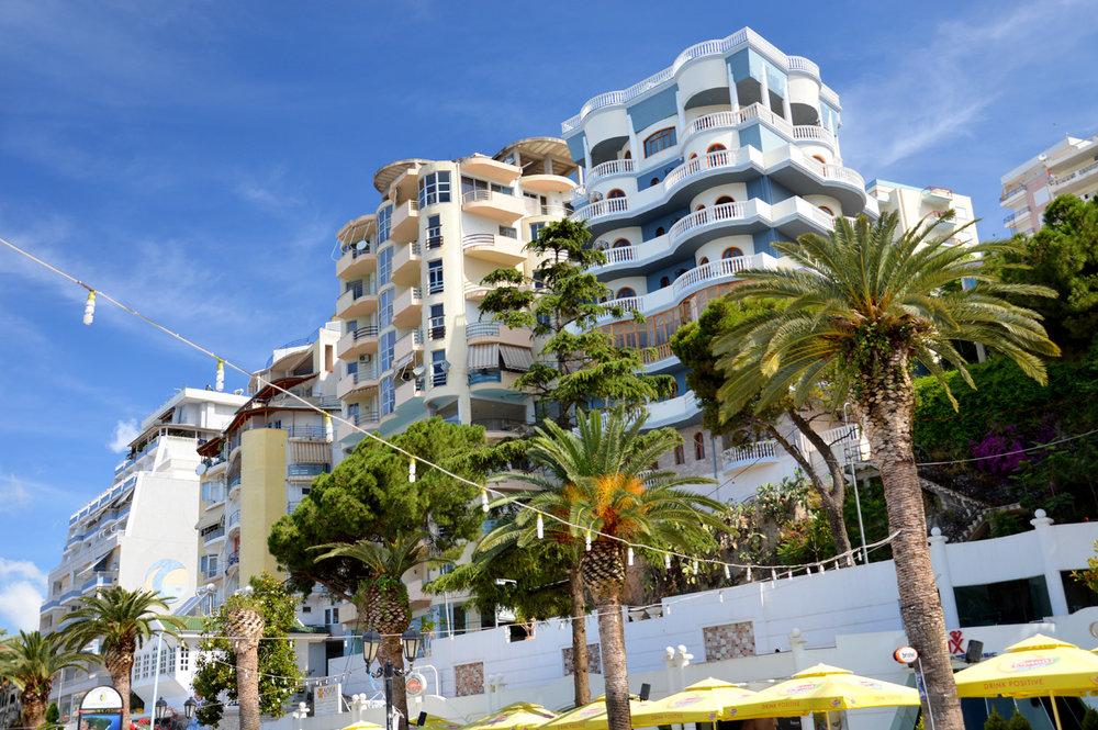 New buildings along the promenade in Sarande