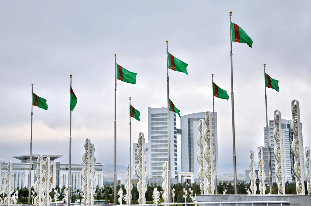 Turkmen flags in front of Alem