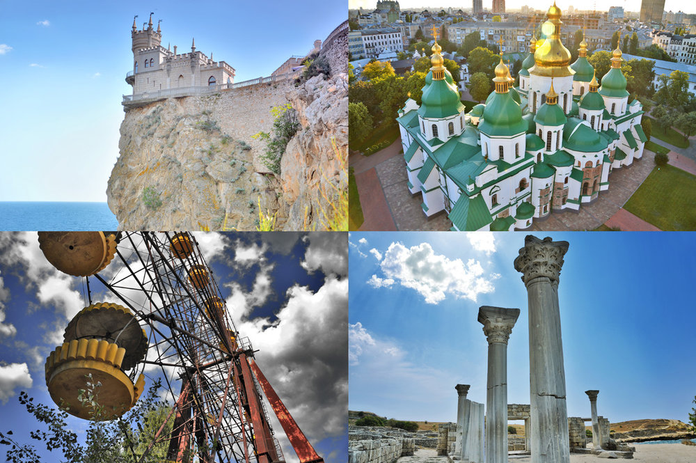 From top left: Swallow's Nest in Yalta, Saint Sophia's Cathedral in Kiev, Abandoned Ferris Wheel in Pripyat and Ancient Greek ruins of Chersonesus in Sevastopol