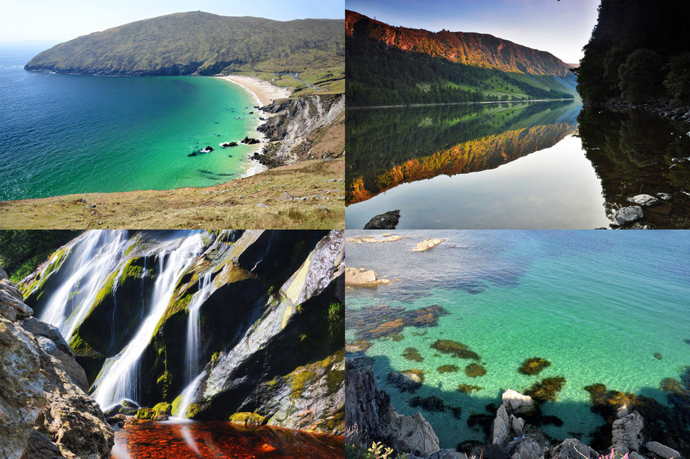 From top left: Keem Beach in Achill Island, Glenfalough Lake, Enniskerry Waterfal and a beach in Abbey Island (part of Ring of Kerry)