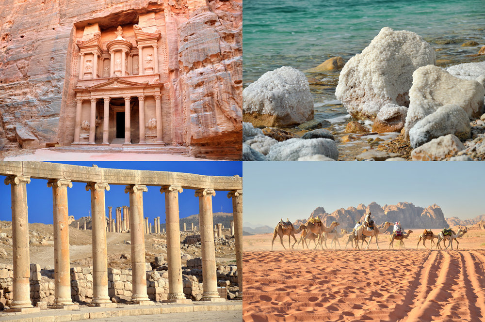 From top left: The Treasury Monument in Petra, Salt Deposits at Dead Sea, Columns in Jerash and Wadi Rum Desert