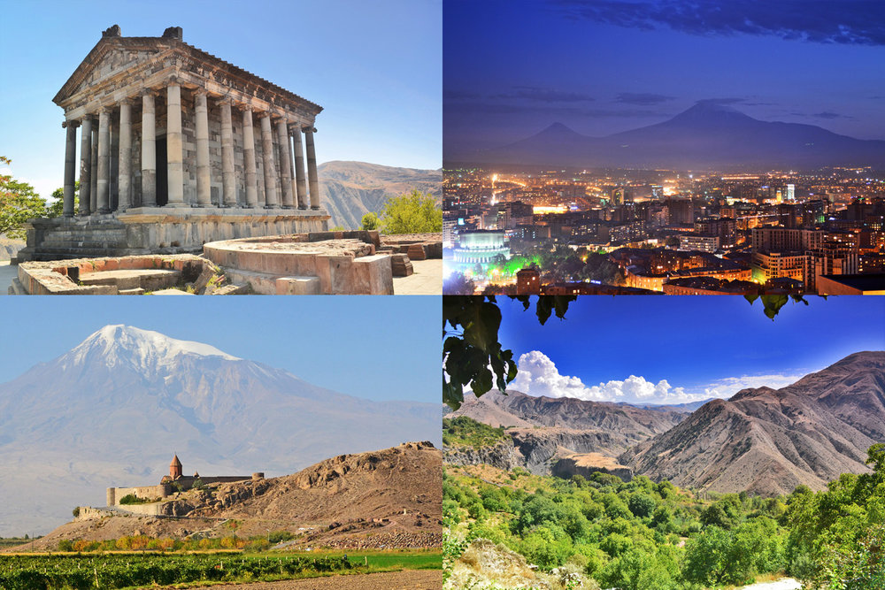 From top left: Garni Temple, Mount Ararat seen from Yerevan, Khor Virap Monastery and Canyons at Garni